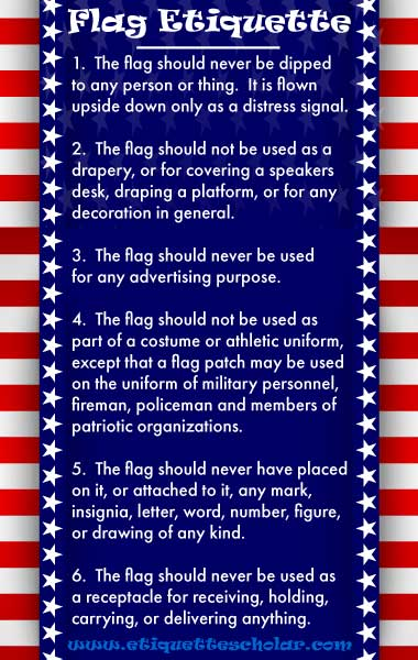 U s flag etiquette for Flag etiquette at home