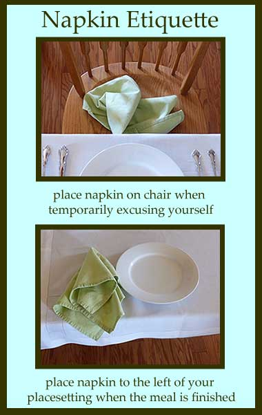 Napkin Etiquette showing where to place napkin at table