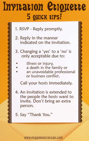 Five great invitation reply etiquette tips 5 invitation etiquette tips stopboris Images